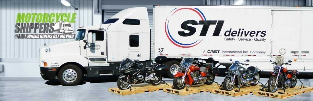 Motorcycles on Skids in Front of Transport Truck